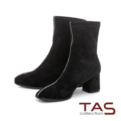 TAS質感彈力絨布拼接水鑽粗跟襪靴-女神黑