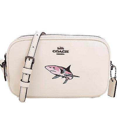 COACH 馬車皮革鯊魚雙層拉鍊斜背包(白)