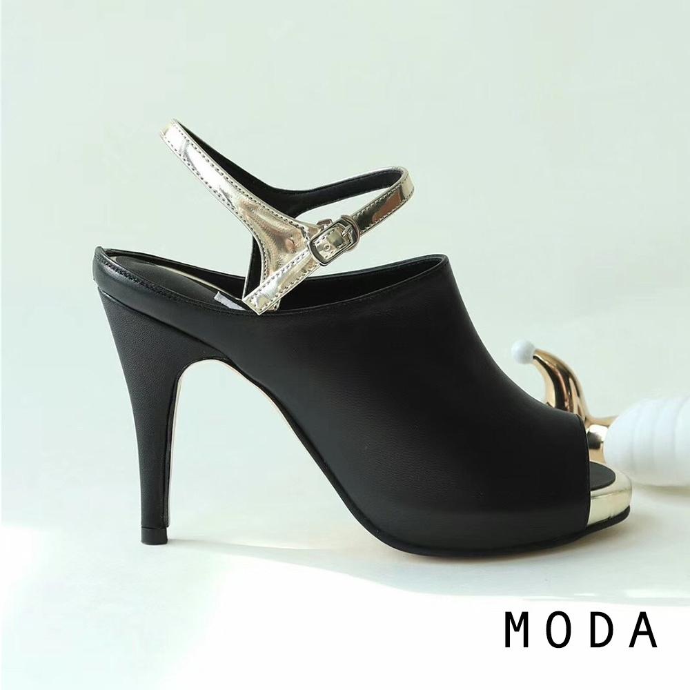 高跟鞋 金色繫帶繞踝設計魚口高跟鞋(黑金色) MODA