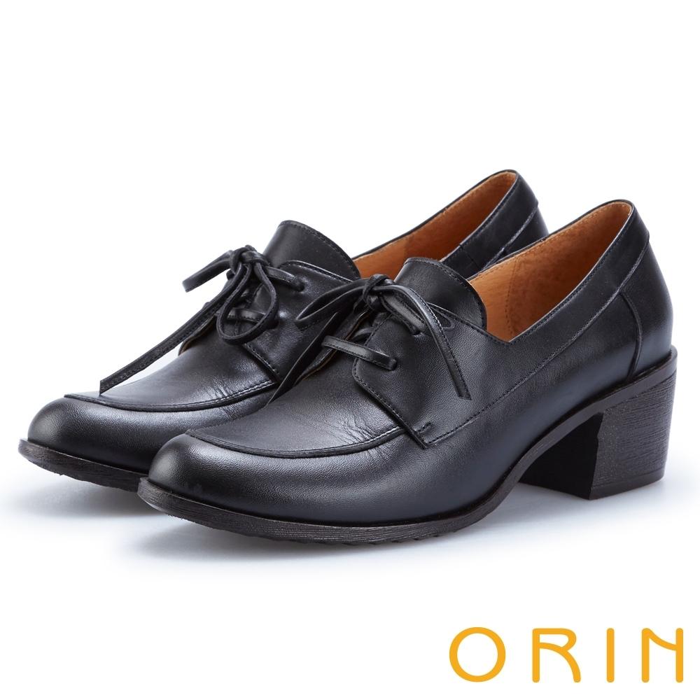 ORIN 中性雅痞 雙色蠟感牛皮粗跟牛津鞋-黑色