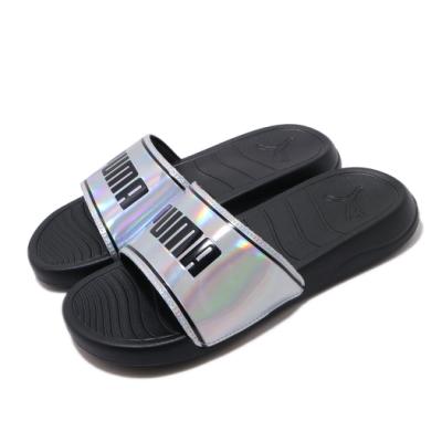 Puma 涼拖鞋 Popcat 20 套腳 女鞋 舒適 簡約 夏日 穿搭 質感 大logo 銀 黑 37262701