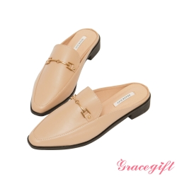 Grace gift-金屬馬銜釦低跟穆勒鞋 杏