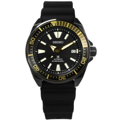 SEIKO 精工 PROSPEX 自動上鍊 日期 潛水 矽膠機械手錶-黑x金/44mm