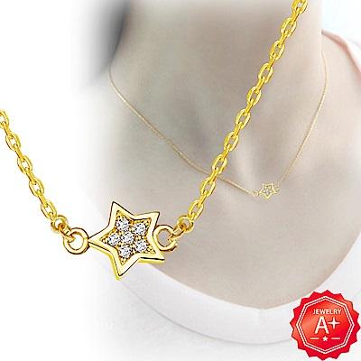 A+黃金 精緻雙邊滿鑽小星星 999千足黃金鎖骨墜