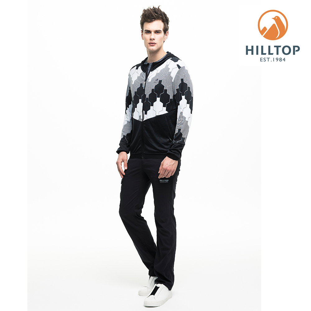 【hilltop山頂鳥】男款吸濕快乾抗菌抗UV針織外套S02M95黑深藍/灰
