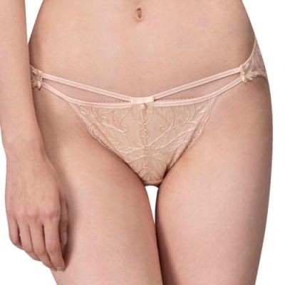 思薇爾 香榭巴黎系列M-XL蕾絲低腰三角內褲(萱草膚)