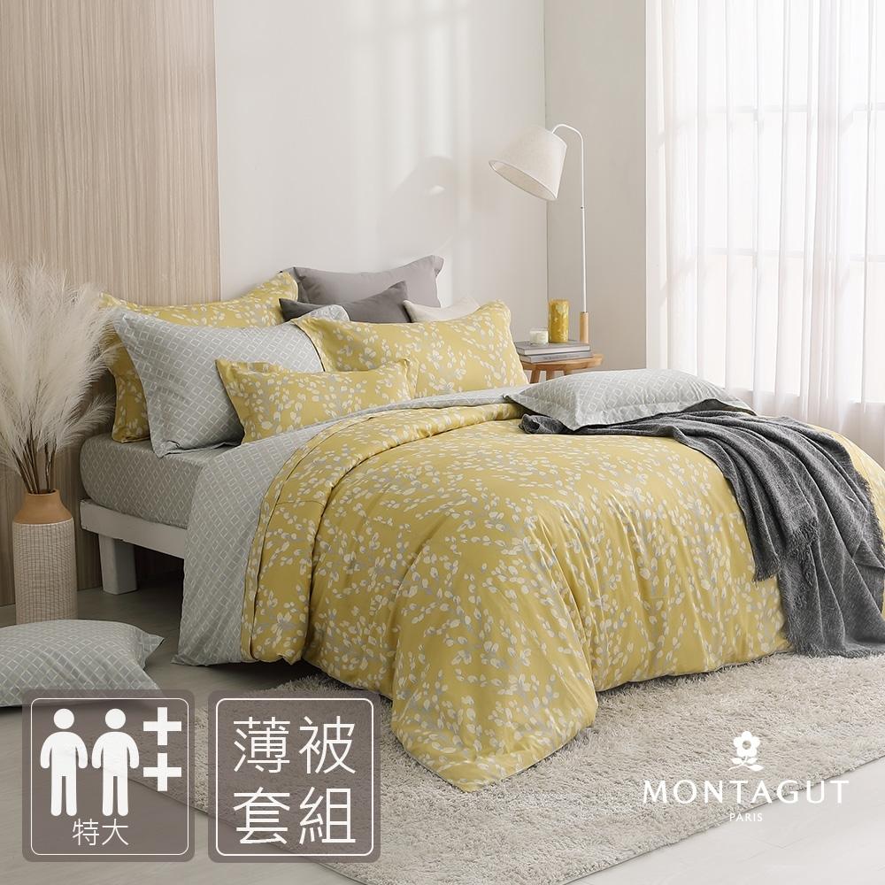 MONTAGUT-秋緗銀柳-200織紗精梳棉-薄被套床包組(特大)