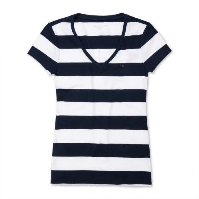 TOMMY 經典V領刺繡小LOGO素面短袖T恤(女)-黑白條紋色