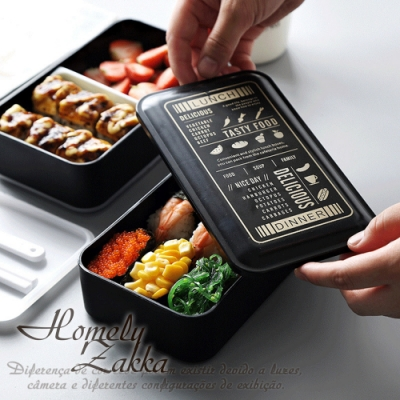 Homely Zakka-原創北歐風黑色雙層便當盒/分格飯盒/可微波飯盒_黑色菜單