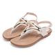 ORIN 夏日時尚風 金屬飾條牛皮夾腳涼鞋-米色 product thumbnail 1