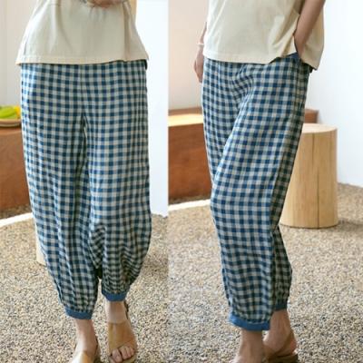 色織亞麻藍色格子燈籠休閒褲-設計所在