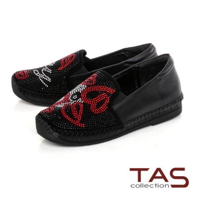 TAS異材質拼接滿版雙色水鑽懶人鞋-焦點黑