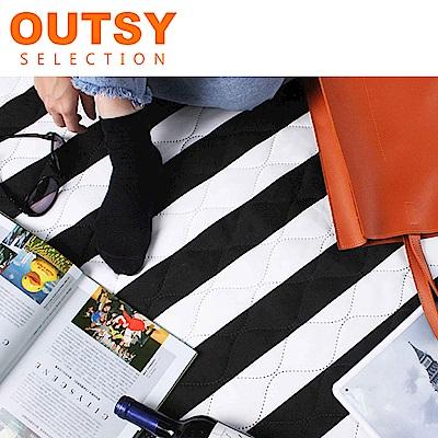 【OUTSY嚴選】巨大特厚鋪棉野餐墊/帳篷地墊歐式條紋-黑白膠捲(隧道帳適用)