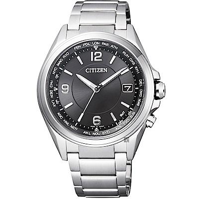 CITIZEN 星辰 鈦 光動能電波萬年曆腕錶-銀/40mm(CB1070-56F)