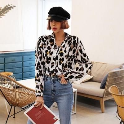 La Belleza豹紋單口袋開釦雪紡襯衫