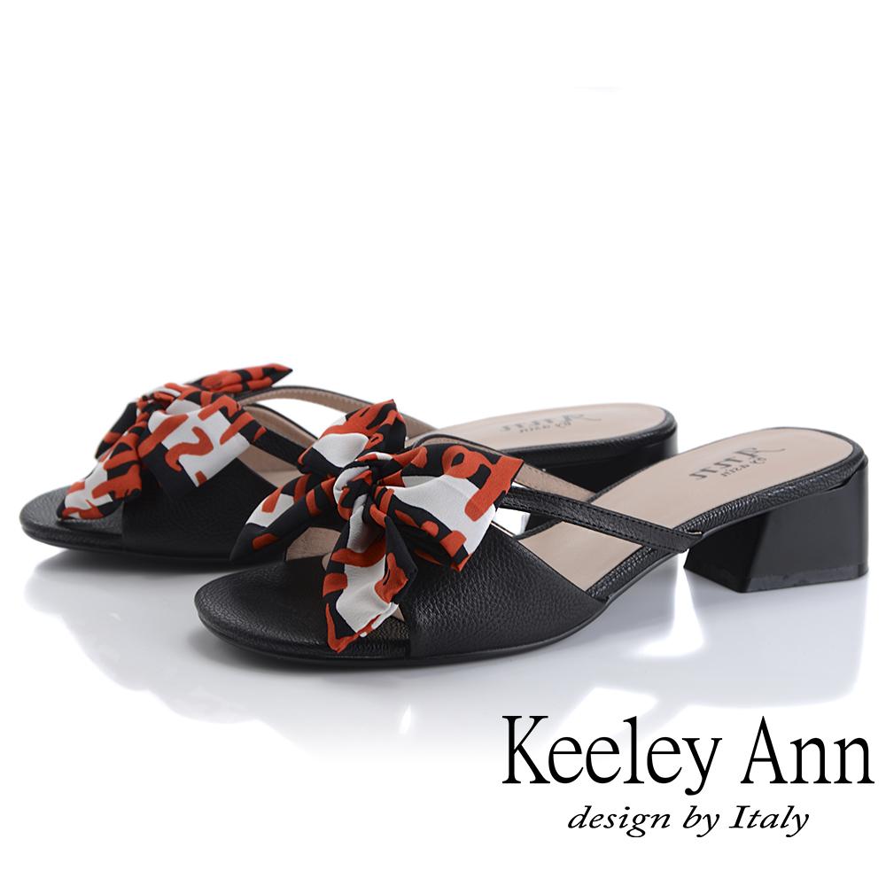 Keeley Ann細條帶 緞帶蝴蝶結低跟拖鞋(黑色-Ann系列)