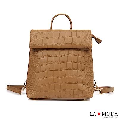 La Moda 個性裝扮蛇紋壓紋大容量多背法肩背後背包(棕)