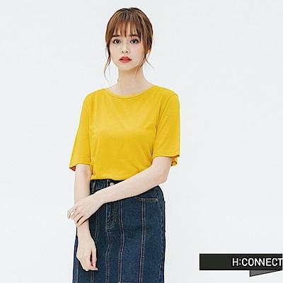 H:CONNECT 韓國品牌 女裝-素面圓領T-shirt-黃