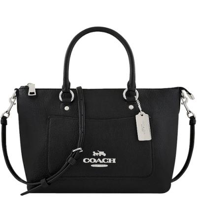 COACH 黑色荔枝紋皮革手提/斜背兩用包