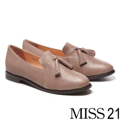 低跟鞋 MISS 21 復古學院風流蘇造型全真皮樂福低跟鞋-可可