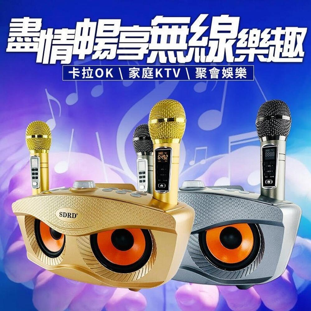 升級版 SD306 PLUS 貓頭鷹麥克風 家庭ktv 雙人伴唱無線麥克風音箱 家庭KTV 附二支無線麥克風