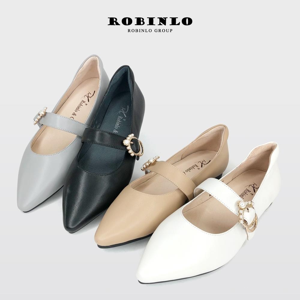 Robinlo微甜復古夢瑪莉珍真皮尖頭平底鞋  燕麥白/莫蘭迪藍/典雅杏/赫本黑