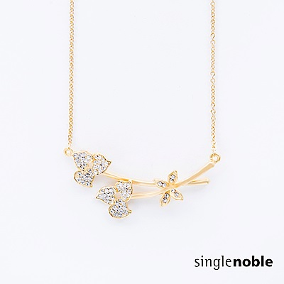 獨身貴族 典雅韻味鑽飾心形葉設計項鍊(1色)