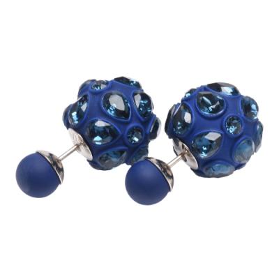DIOR 經典大小珠琉璃鑲飾造型穿式耳環(鈷藍)