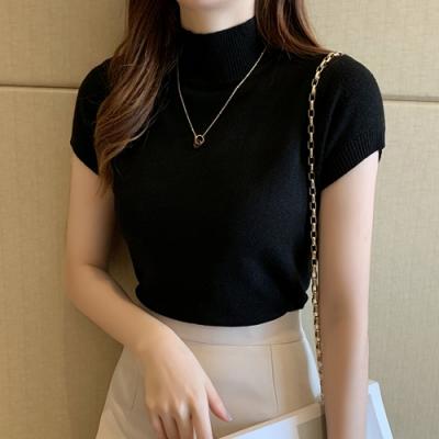 2F韓衣-簡約優雅修身短袖造型上衣-3色(F)