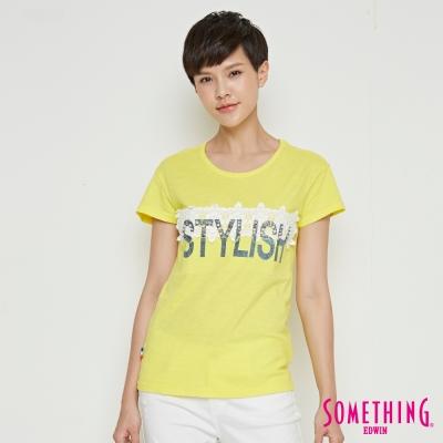SOMETHING 蕾絲花釘圓領T恤-女-黃色
