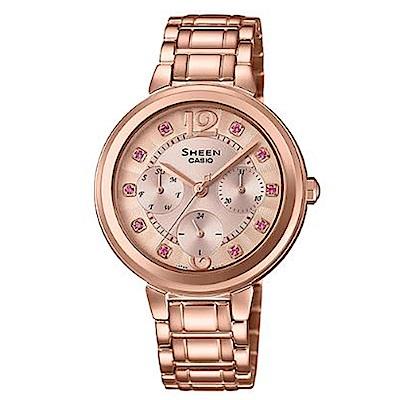 SHEEN 華麗之美水晶時刻玫瑰金腕錶(SHE-3048PG-4B)/粉紅鑽34mm