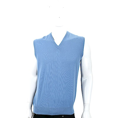 Andre Maurice 喀什米爾蔚藍色V領羅紋細節羊毛背心(男款)