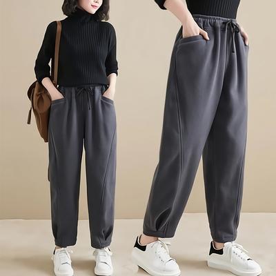 悠美學-日系簡約純色鬆緊繫繩造型長褲-3色(M~2XL)