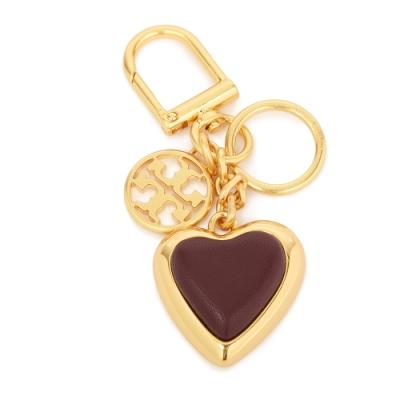 TORY BURCH 經典LOGO愛心造型皮革鑰匙圈(包包掛飾)-深酒紅