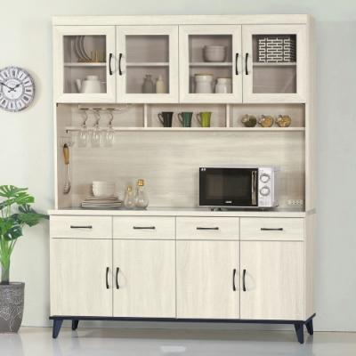 MUNA 達格鋼刷白5.3尺餐櫃/碗盤櫃(全組)  160X43X202cm