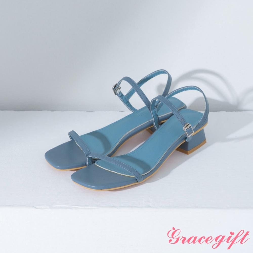 Grace gift-方頭一字繫踝中跟涼鞋 藍