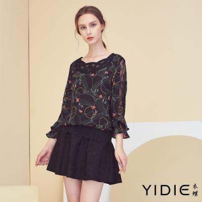 【YIDIE衣蝶】抽象人像印花荷葉袖雪紡上衣