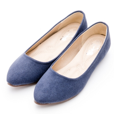 River&Moon韓版微尖頭內增高絨布Q軟底包鞋 單寧藍