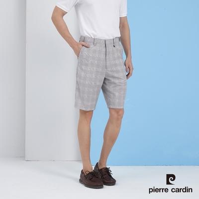 Pierre Cardin皮爾卡登  男裝 彈性伸縮腰平口格紋短褲-灰(5217965-95)