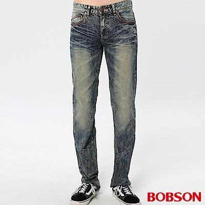 BOBSON 男款刷白立體壓褶直筒褲(藍52)