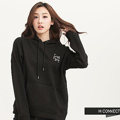 H:CONNECT 韓國品牌 女裝-不規則後背印字帽T-黑(快)