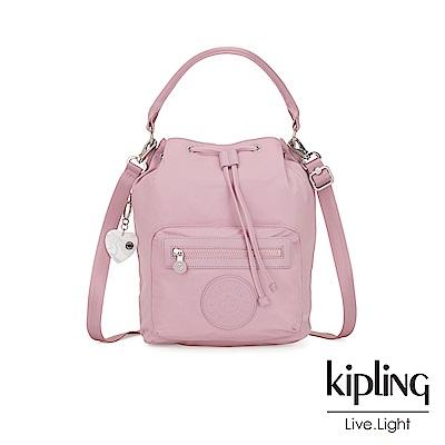 Kipling 亞洲限定款夢幻櫻花粉多用途水桶手提側背包-VIOLET