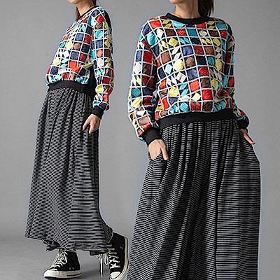 幾何彩色網紗刺繡拼接衛衣-(圖色)Andstyle