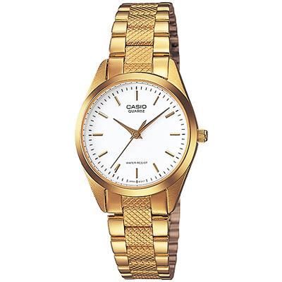 CASIO 璀璨金色都會仕女腕錶-白面(LTP-1274G-7A)/26mm