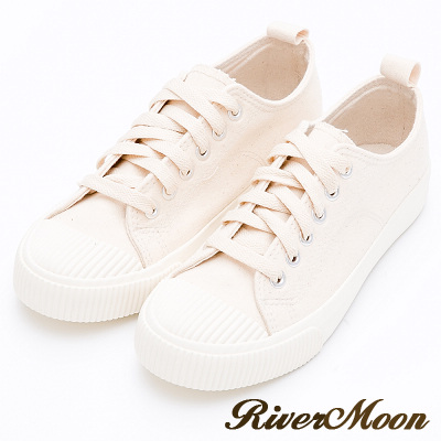 River&Moon餅乾鞋-東大門帆布縫線綁帶休閒鞋-米