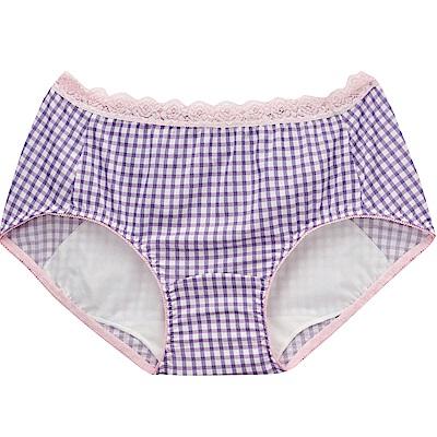 莎薇- 印花 M-LL 中低腰日間生理褲(紫格)吸濕透氣