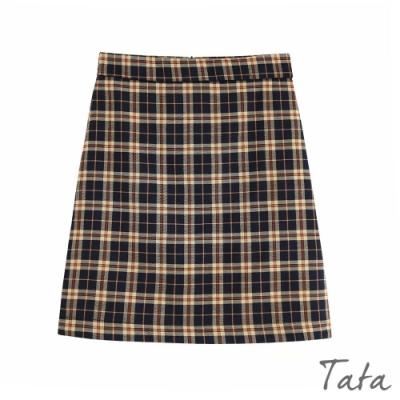 格紋後拉鍊包臀直筒裙 TATA-(S/M)