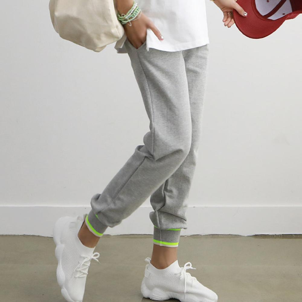 正韓 簡約螢光撞色運動休閒長褲 (共二色)-N.C21