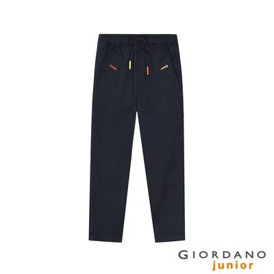 GIORDANO 童裝刺繡抽繩卡其長褲 - 66 標誌海軍藍