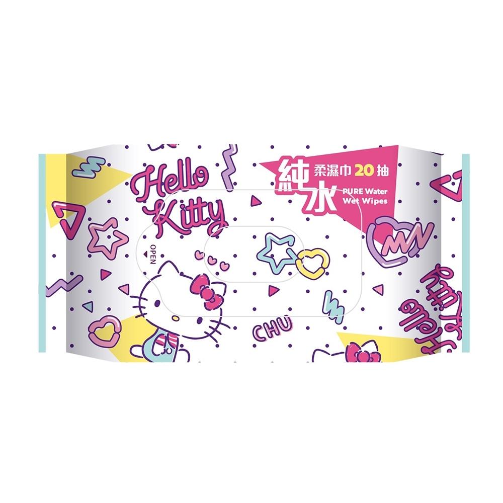 Hello Kitty 凱蒂貓純水柔濕巾/濕紙巾 20 抽 X 36 包隨身包(箱購) 超柔觸感 溫和保濕